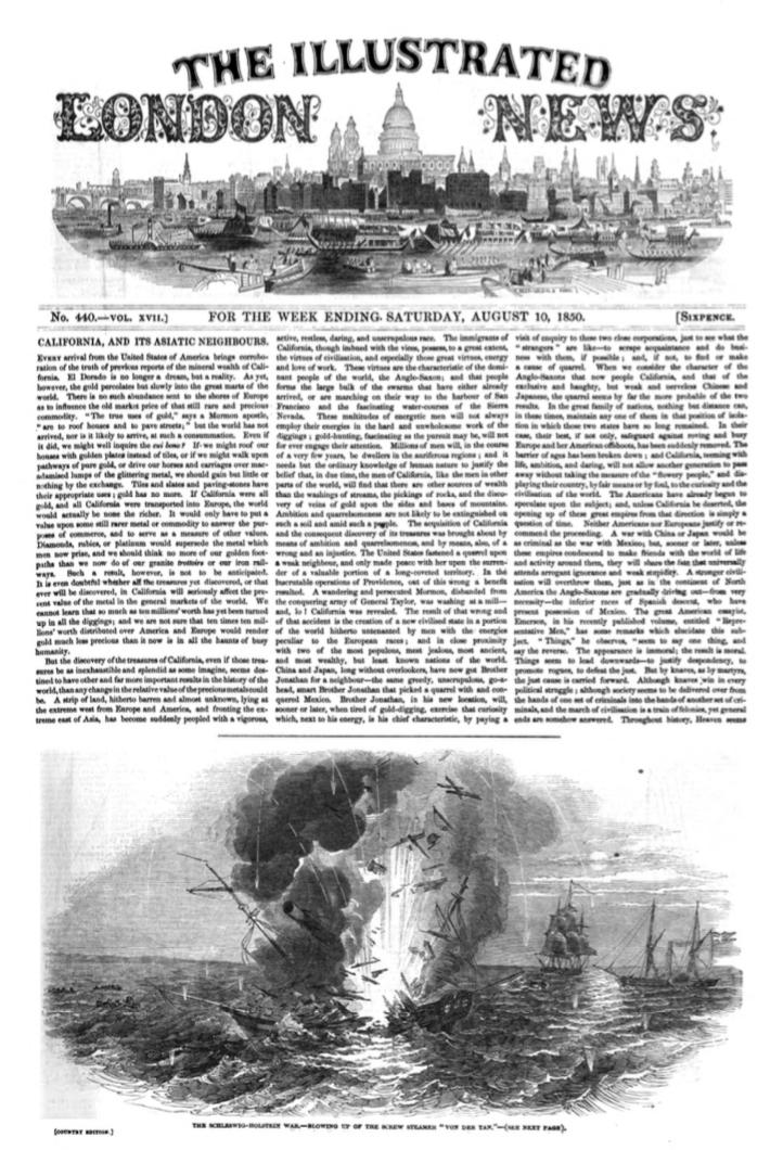 """THE SCHLESWIG-HOLSTEIN WAR——BLOWING UP OF THE SCREW STEAMER """"VON DER TAN""""(シュレスヴィヒ=ホルシュタイン戦争——スクリュー船フォン・デア・タン巡洋戦艦の爆破)"""